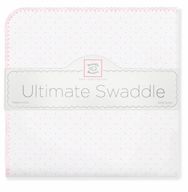 ultimate swaddling blanket by swaddle designs - white with pink dots