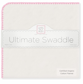 ultimate swaddling blanket by swaddle designs - white with pink trim