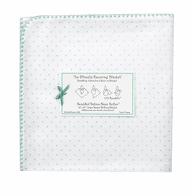 ultimate swaddling blanket by swaddle designs - white with sea crystal dots