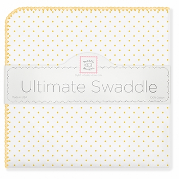 ultimate swaddling blanket by swaddle designs - white with yellow dots