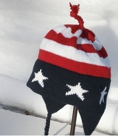 USA striped knit hat with ear flaps