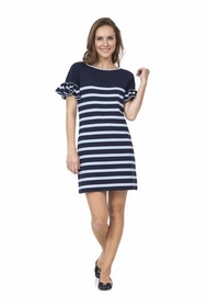 variegated navy stripe ponte dress with bell sleeve