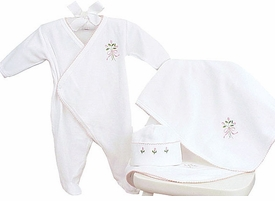 velour layette set with flower motif