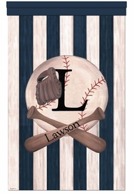 vintage baseball home run blue personalized wall hanging