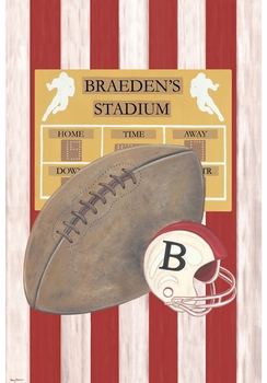 vintage football touchdown red  personalized wall hanging