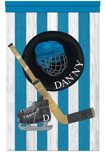 Personalized Wall Hangings vintage hockey slapshot blue personalized wall hanging
