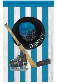 vintage hockey slapshot blue personalized wall hanging