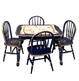 Vintage Play Table and Chair Set Navy And Gold Gilding