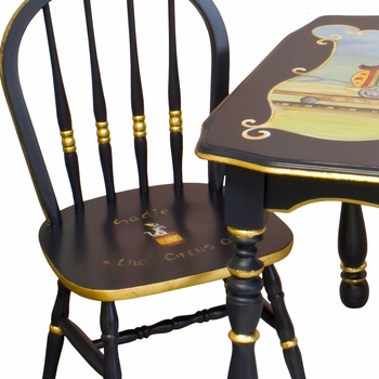 Vintage Play Table and Chair Set Navy And Gold Gilding Circus