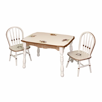 Vintage Play Table and Chair Set Ponies