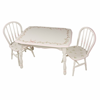 Vintage Play Table and Chair Set Ribbons and Roses