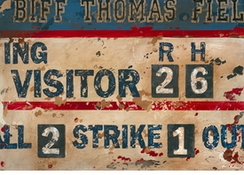 vintage scoreboard baseball cream and navy wall art - unavailable