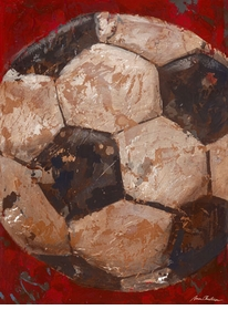 vintage soccerball (blue or red) wall art - unavailable