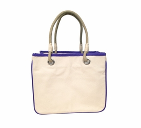 violet accented rope tote