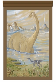 wading brachiosaurus prehistoric brown personalized wall hanging