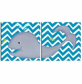 wallace whale diptych - turquoise
