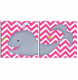 wendy whale diptych - hot pink