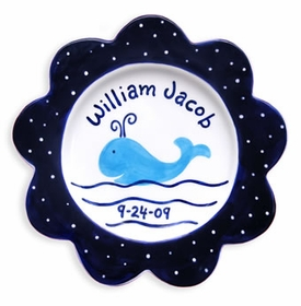 whale baby name plate