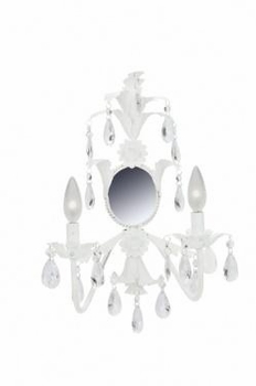 white 2 arm mirrored lighted wall sconce