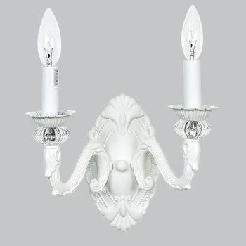white 2 arm turret wall sconce