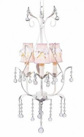 white 3 arm pear chandelier-pink sconce shades