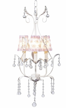 white 3 arm pear chandelier w/flower sconce shades
