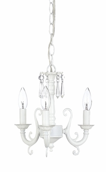 white 3 arm scroll chandelier
