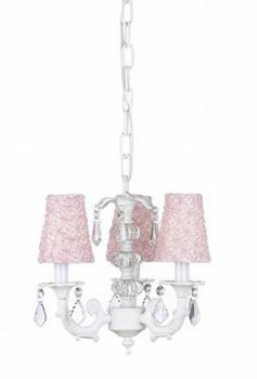 white 3 arm stacked ball chandelier w/pink lace sconce shades