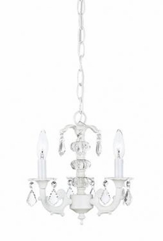 white 3 arm stacked chandelier-pink bulb covers