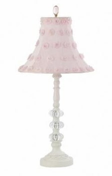 white 3-glass ball  lamp-pink petal shade