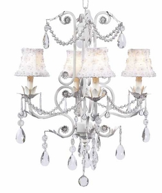 white 4 arm valentino chandelier w/petal flower shades