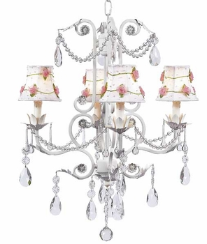 white 4 arm valentino chandelier with flower net shades