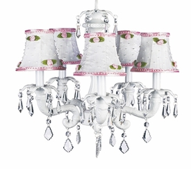 white 5-arm chateau chandelier w/rosebud shades