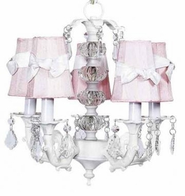 white 5 arm glass stacked glass ball chandelier-pink sconce shades