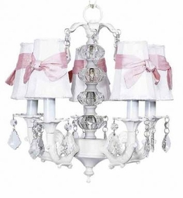 white 5 arm stacked ball chandelier-white/pink sconce shades