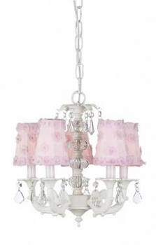 white 5 arm stacked glass ball chandelier w/pink flower sconce shades