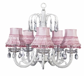 white 5 arm waterfall chandelier w/ pink skirt dangle shades