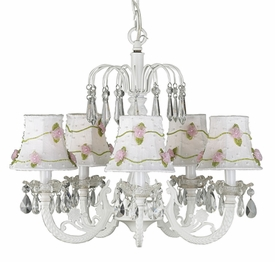 white 5 arm waterfall chandelier with flower net shades