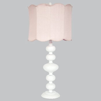 white bola lamp with pink scalloped shade