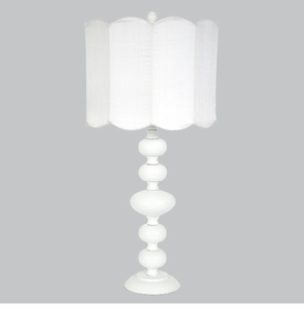white bola lamp with white scalloped shade