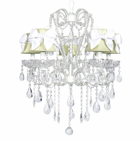 white carousel chandelier with sage green shades