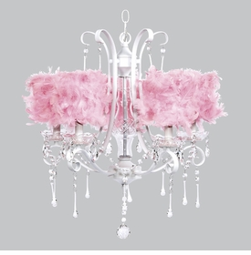 white colleen chandelier - pink feather drum shades