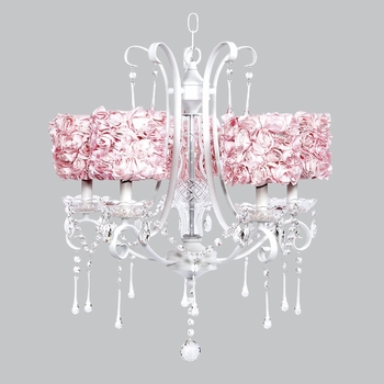 white colleen chandelier - pink rose shades