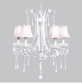 white colleen chandelier - pink white stripe shades