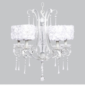 white colleen chandelier - white rose garden shades