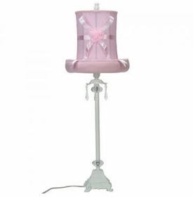 white crystal dangle lamp-pink hat shade