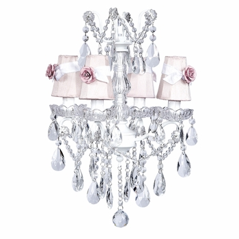 white crystal glass center chandelier - rose shades