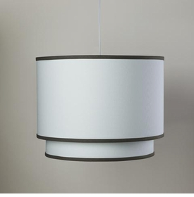 white double cylinder light - brown trim