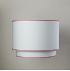 white double cylinder light - petal pink trim