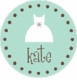 white dress (polka dot border) personalized short sleeve lap tee